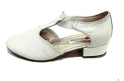 Ladies White Close Toe Genuine Leather Dance Shoes Size 38