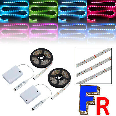 2pcs 2M SMD 5050 RGB Ruban LED Bande USB LEDs TV Light Strip Flexible Noël Déco