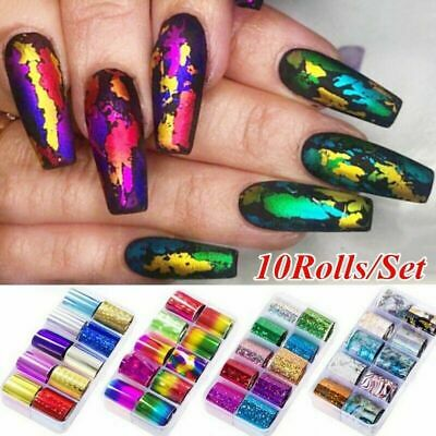 10 Rolls Starry Sky Laser Nail Foil Marble Holographic Nail Art Transfer Sticker