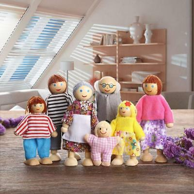 AU Wooden Furniture Dolls House Family Miniature 7 People Doll Kids Children Toy