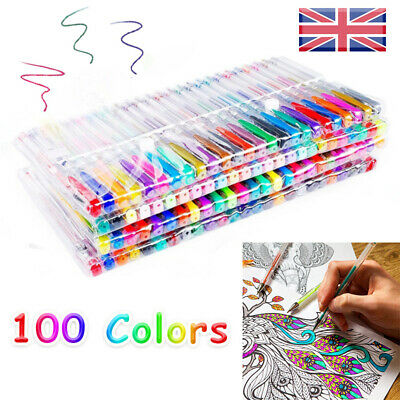 100 Color Gel Pens Glitter Ballpoint Craft Drawing Brush For Colouring Book UK W