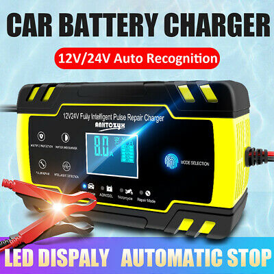 12-24V Car Battery Charger Intelligent Automobile Motorcycle Repair Fix Pulse