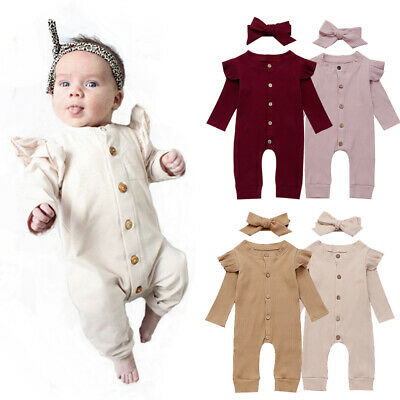 Newborn Baby Girl Boy 2PCS Cotton Clothes Knitted Romper Jumpsuit Autumn Outfits