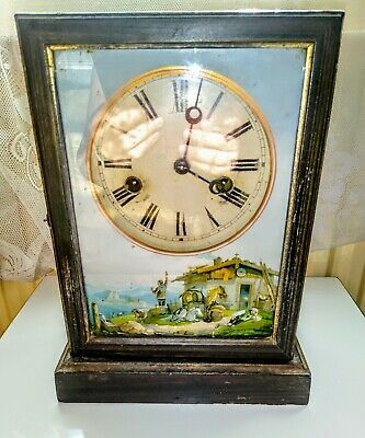 Antique American Cottage Clock Reverse Glass painting