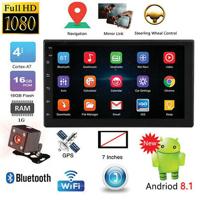7'' Android 8.1 Double 2 DIN Quad Core GPS Car Stereo MP5 Player FM+Rear Camera