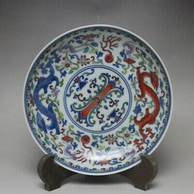 Chinese ancient antique hand make Dragon pattern plate a192