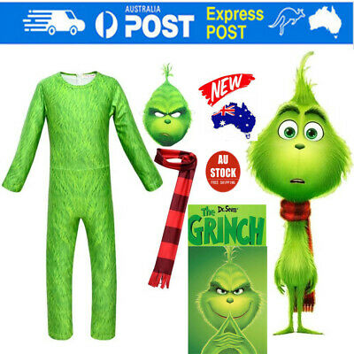 Kid Boy The Grinch Cosplay Costume Party Halloween Fancy Dress Jumpsuit Outfit