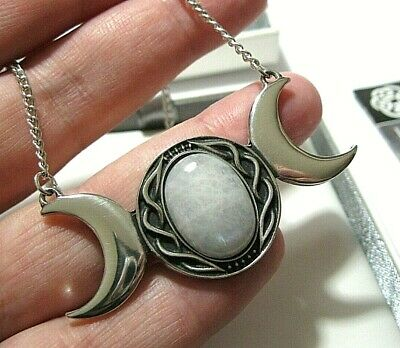 "ST JUSTIN Triple Moon 18"" Pendant Moonstone Necklace JEWELLERY NEW GIFT BOXED"