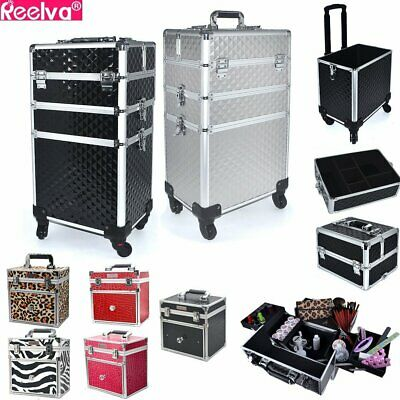 3 In 1 Makeup Beauty Cosmetic Hairdressing Case Box Trolley Aluminium Trolley