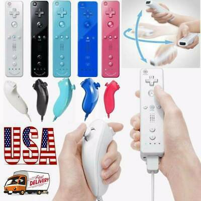 US Nintendo WII Remote And Nunchuck Controller With Silicone Case Wrist Strap
