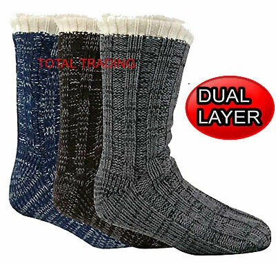 Mens Luxury Slipper Socks gripper thermal lounge cosy  pack faux fur lined