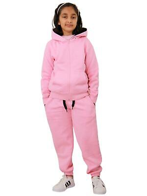Kids Boys Girls Tracksuit Fleece Baby Pink Hooded Hoodie & Bottom Jogging Suits
