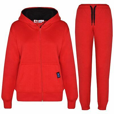 Kids Boys Girls Tracksuit Fleece Red Hooded Hoodie & Bottom Jogging Suit 5-13 Yr