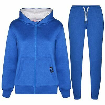 Kids Boys Girls Tracksuit Fleece Royal & Grey Hooded Hoodie Bottom Jogging Suits