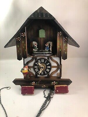 Vntg B Forest Cuckoo Clock REGULA Musical Chalet Dancing Girls FOR PARTS REPAIR