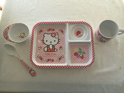 Hello Kitty Lunch Food Dinner Set 4 x Items Tray, Spoon, 2 x Cup Supperware
