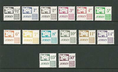 JERSEY 1971-75 DECIMAL POSTAGE DUE SET of 14 MNH