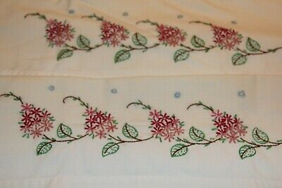 Vintage Hand Embroidered Pillowcases Set of 2 Pink Flowers