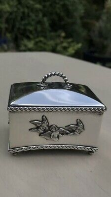 Antique Style Rare Solid Silver Miniature Music Box Carved 3D Angel London 1980