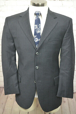 Bachrach Mens Gray Wool Classic Fit Pleated Front 2 Piece Suit 42R 35Wx29L