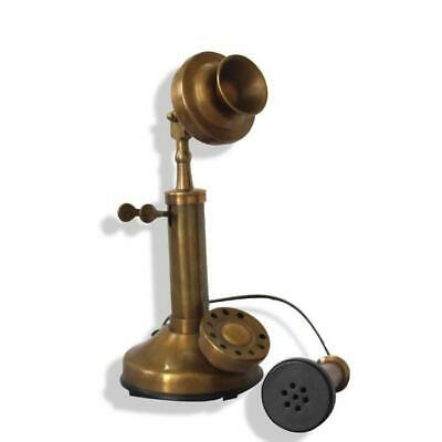 Vintage Candlestick Phone Prop Retro Bronze Rotary Dial Telephone Collectors