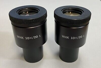 Pair Of Olympus WHK 10X/20 L  Microscope Eyepieces Widefield  Wide 23mm