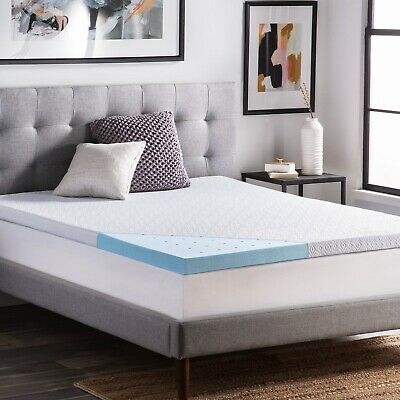 """LUCID 2.5"""" Gel Infused Memory Foam Mattress Topper with Removable Cover - DNIP"""