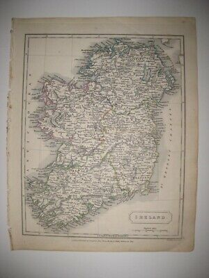 Superb Antique 1826 Ireland Handcolored Map Queens County Limerick Dublin Fine
