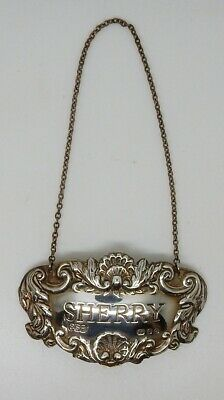 Vintage 1962 English Sterling London Hallmarked Sherry Decanter Label / Tag