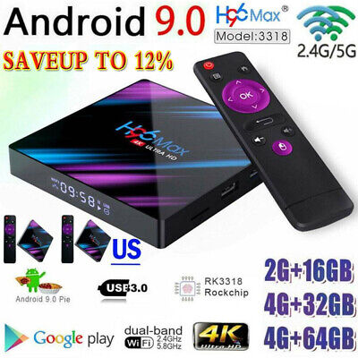H96 Max Android 9.0 Smart TV Box 64G Quad Core 4K HD 5.8GHz WiFi Media Player RB
