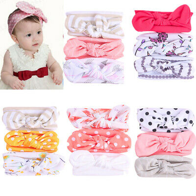 3Pcs Toddler Baby Girls Floral Headband Elastic Bowknot Accessories Hairband Set