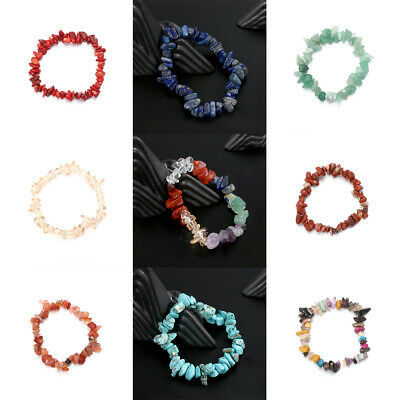 Handmade 5-8mm Mixed Natural stone Chip Beads Stretchy Bracelet Healing Gifts