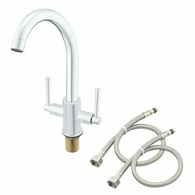 Stainless Steel Kitchen Sink Water Faucet Dual Handle Swivel Spout Mixer Tap USA