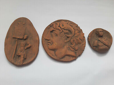 Set Of 3 Roman Terracotta Tablets Tokens Unglazed Fired Clay Alexander The Great