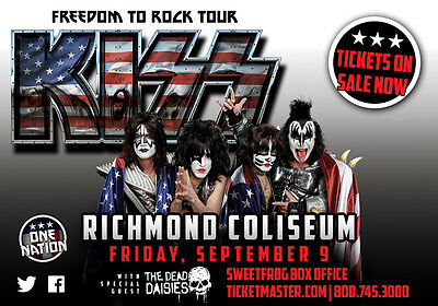 """KISS """"FREEDOM TO ROCK TOUR"""" 2016 RICHMOND CONCERT POSTER - U.S. Flags Over Band"""