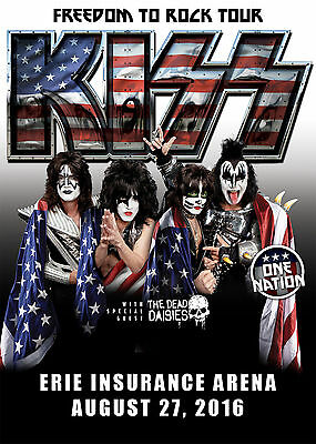 """KISS / DEAD DAISIES """"FREEDOM TO ROCK TOUR"""" 2016 ERIE CONCERT POSTER-Gene Simmons"""