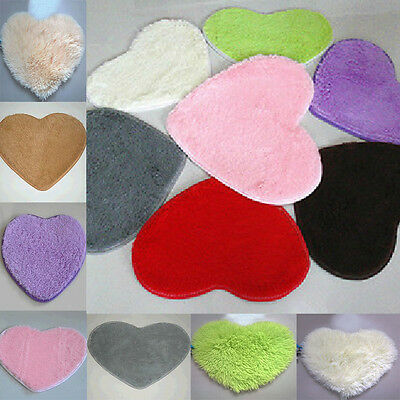 Love Heart Shaped Shaggy Fluffy Rugs Non-slip Area Rug Carpet Bedroom Floor Mats