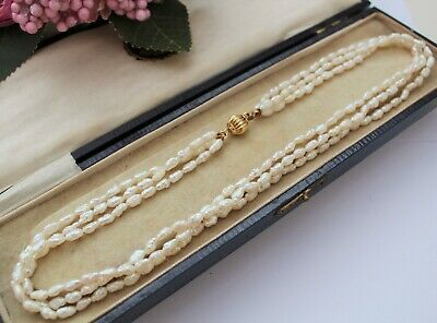 Vintage Style 3 Strand Cultured Rice Pearl Beaded Necklace - Gorgeous !