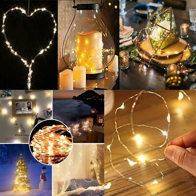 20/30/40/50 LED Battery Micro Rice Wire Copper Fairy String Lights Wedding Party