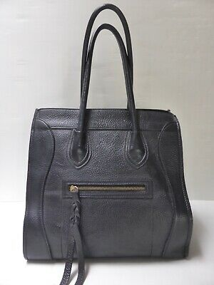 Grans sac cabas cuir grainé noir Artisanat Italien leather bag