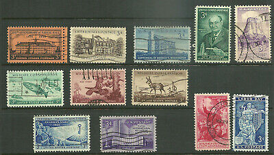 US 1956 Complete Commemorative Year Set of 13, 1073-1085 NO 1075  USED F/VF