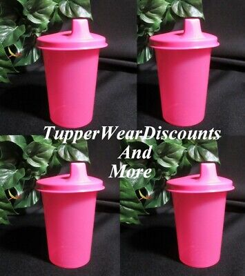 Tupperware Brand New Set 4 PINK  Kids Bell Tumblers with PINK Sipper Sippy Seals