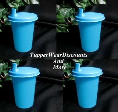 Tupperware New Small Set 4 Blue Kids Bell Tumblers w/ Blue Sipper Sippy Seals