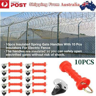 Au 10X Insulated Anchor Plate Gate Handle Spring Electric Fence Post Insulator