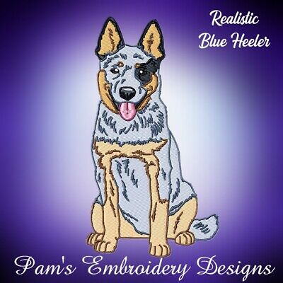 REALISTIC BLUE HEELERS  10 MACHINE EMBROIDERY DESIGNS CD or USB