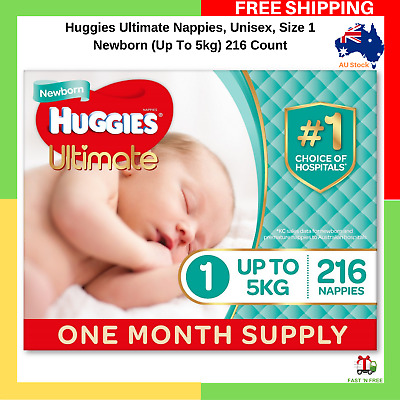 Huggies Ultimate Nappies Unisex Size 1 Newborn (Up To 5kg) 216 Count NEW