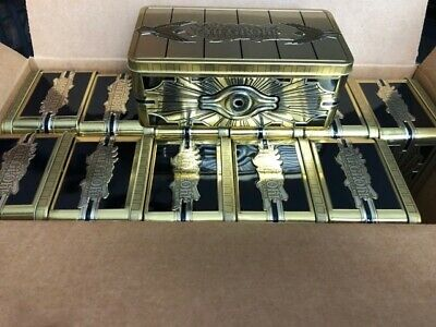 "Yugioh 2019 Mega Tin Case Of 12! Gold Sarcophagus Tin ""Empty Opened"" Collectable"