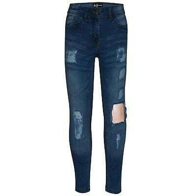 Kids Girls Stretchy Jeans Mid Blue Denim Ripped Frayed Skinny Faded Pant Jegging
