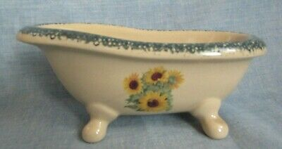 Home And Garden Pottery Bath Tub Shape Soap Dish With Sunflowers
