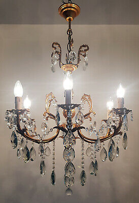 Antique Vintage 6 Arms Brass & Crystals Chandelier Lighting Ceiling Lamp 1970's